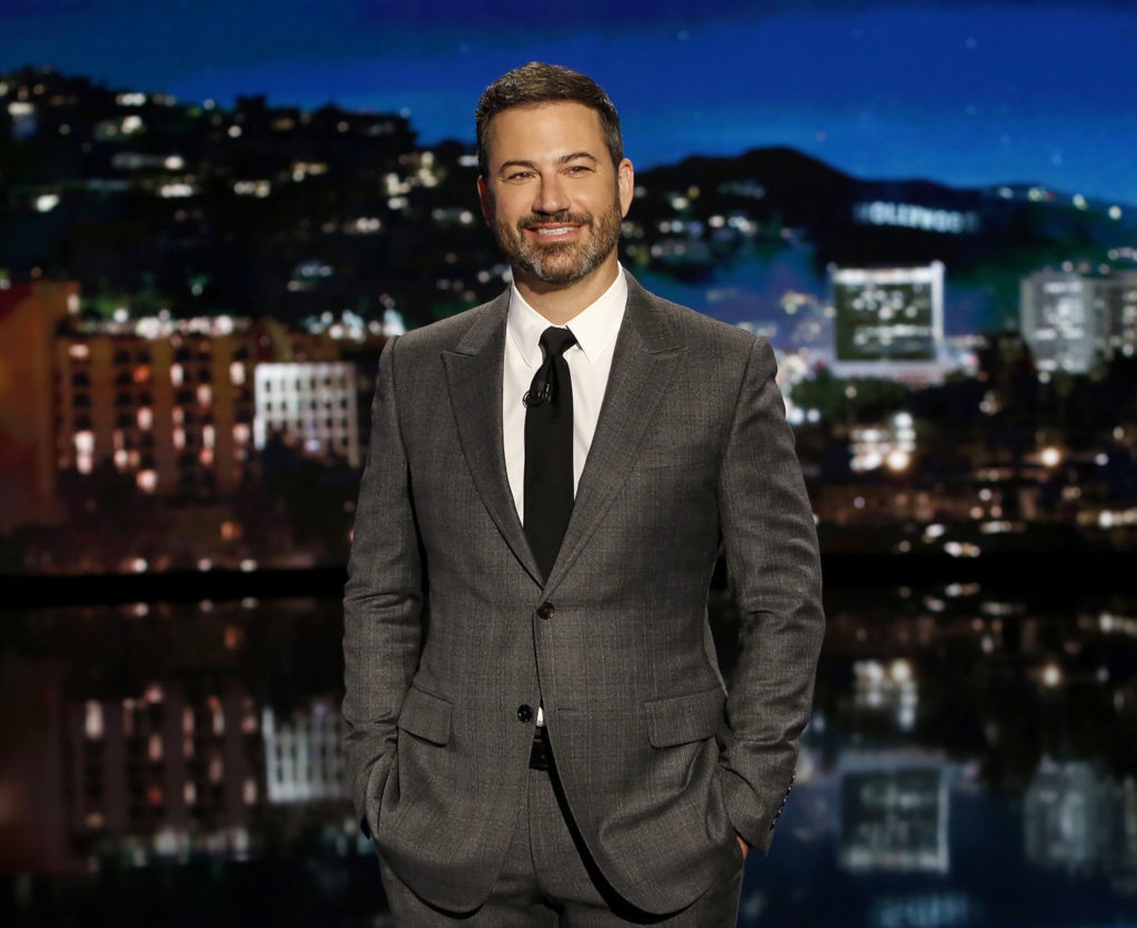 "JIMMY KIMMEL LIVE - ""Jimmy Kimmel Live"" airs every weeknight at 11:35 p.m. EST and features a diverse lineup of guests that includes celebrities, athletes, musical acts, comedians and human-interest subjects, along with comedy bits and a house band. The guests for Monday, September 18 included Julie Bowen (""Modern Family""), Kumail Nanjiani (""Ninjago"") and musical guest Fall Out Boy. (Randy Holmes/ABC via Getty Images) JIMMY KIMMEL"